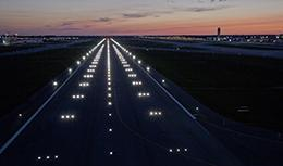 LED lights illuminate the new runway in at night Columbus
