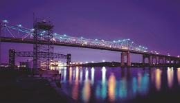 Goethals Bridge at night