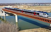 TEXRail Trains in Service crossing new Trinity River Bridge